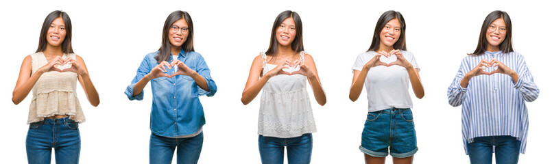 Collage of chinese asian woman over isolated background smiling in love showing heart symbol and shape with hands. Romantic concept.