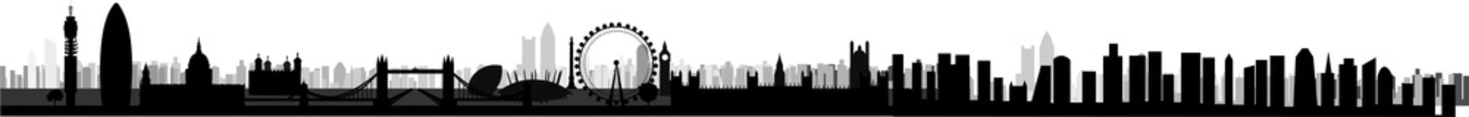 ロンドンの都会の街並みのシルエット