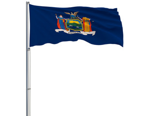 Isolated flag of the US state of New York is flying in the wind, 3d rendering