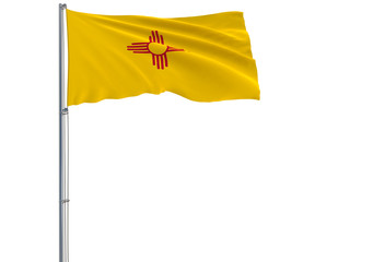 Isolated flag of the US state of New Mexico is flying in the wind, 3d rendering