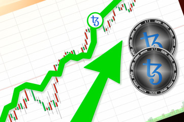Tezos (XTZ) index rating go up on exchange market; cryptocurrency chart on tablet pc (smartphone) with arrow pointing up and coins Tezos. Place for text (prices); top view