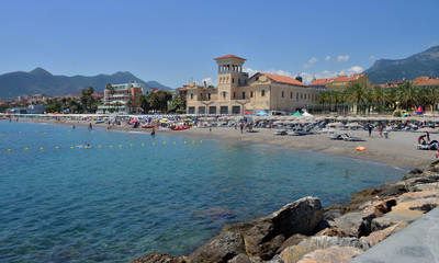 veduta panoramica di alcuni angoli delle spiagge di Loano, liguria, Italia