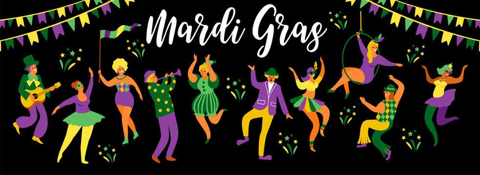 Mardi Gras. Vector illustration of funny dancing men and women in bright costumes.
