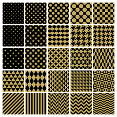 Set of 25 classic geometric patterns. Vector seamless gold patterns.