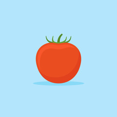 Tomato isolated on blue background. Flat style icon. Vector illustration.