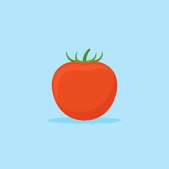 Tomato isolated on blue background. Flat style icon. Vector illustration.