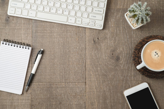 Office desk or home office table background