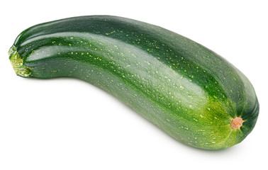 Ripe zucchini or courgette isolated on white background with clipping path