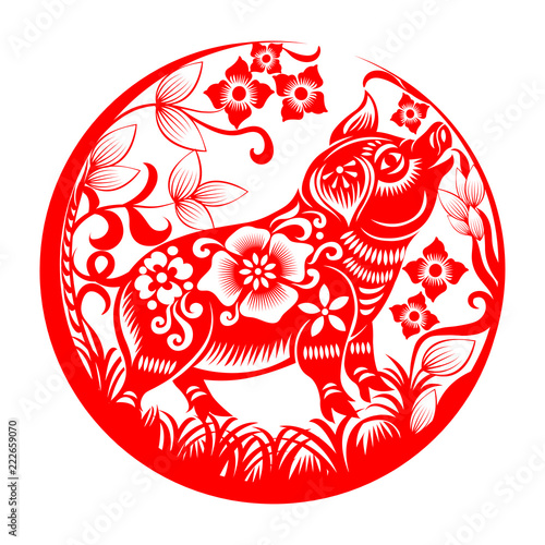 round design with chinese zodiac sign for year of pig