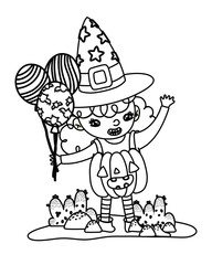 outline happy gril with pumpkin costume and balloons