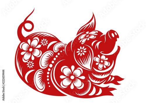 Chinese Zodiac Sign Year Of Pig Red Paper Cut Pig Happy Chinese New