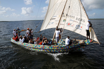 Launch ceremony of Flipflopi the first dhow boat made entirely of recycled plastic in Lamu