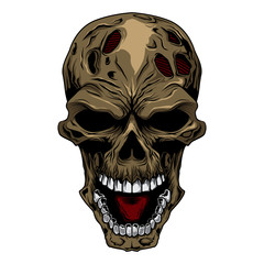 angry skull head.