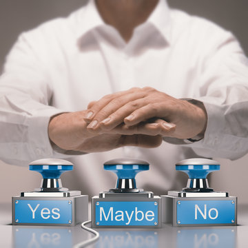 Quick Decision Making and Indecision Concept. Yes, No and Maybe buzzers