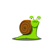 A shy snail is a cute illustration, a cartoon character with a salad slug with big sad eyes.