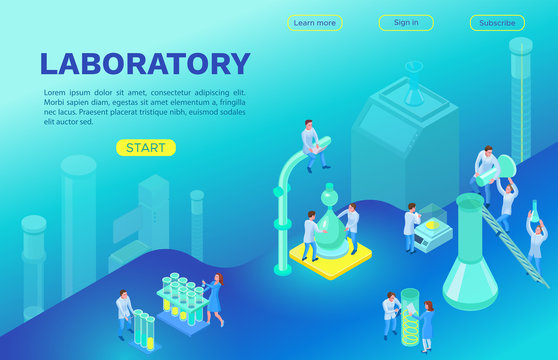 Isometric landing page template with laboratory equipment, 3d machines, scientists doing experiment and research, modern chemical lab vector illustration