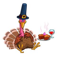 Thanksgiving cartoon turkey character sleeping. Isolated vector illustration clipart