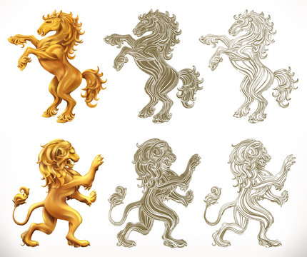 Horse anb lion. 3d and engraving styles. Vector illustration