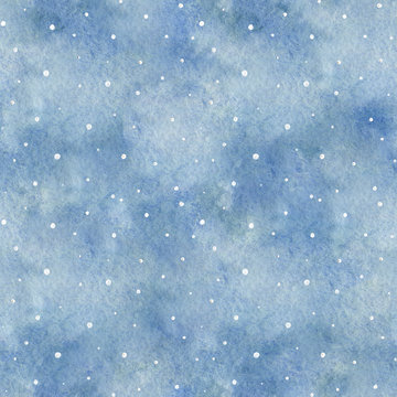 Seamless pattern with blue gradient background and snowflakes. Watercolor hand drawn illustration. Shades of blue and gray watercolor stains