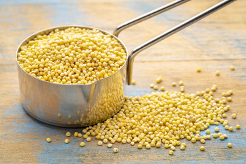 millet grain in a measuring scoop