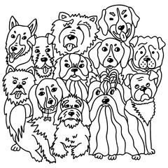 Dogs breeds in doodle style