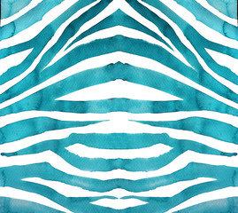 Hand painted watercolor background. Zebra ornament.