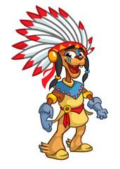 Native American Character cartoon. Vector illustration. Thanksgiving symbol