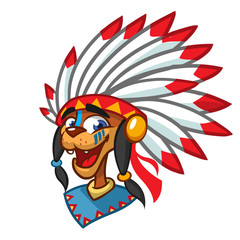 Cartoon native american indian character. Illustration clipart