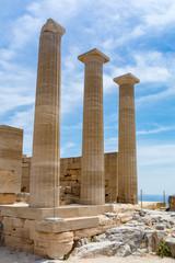 Greek temple columns, Acropolis, Lindos, Rhodes, Greece
