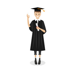 Boy standing with diploma, graduating university, receiving diploma and degree