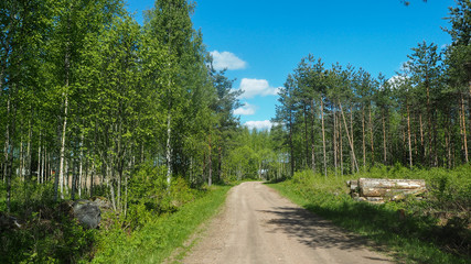driving rural road in finland