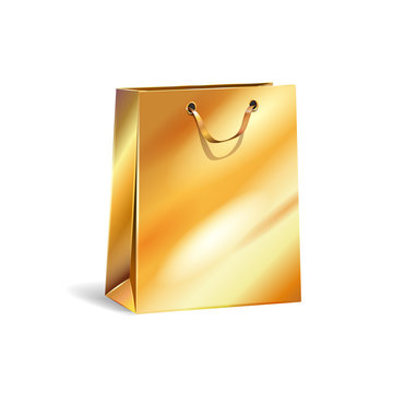 Vector illustration of empty gift gold paper shopping bag with gold ribbon for advertising, branding. Isolated mock up