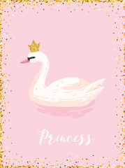 Illustration of Beautiful Swan with Golden Glitter Crown for Poster Print, Baby Greetings, Invitation, Children Store Flyer, Brochure, Book Cover in vector