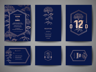 Luxury Wedding Save the Date, Invitation Navy Cards Collection with Gold Foil flowers and Trendy Monogram Logo vector design template
