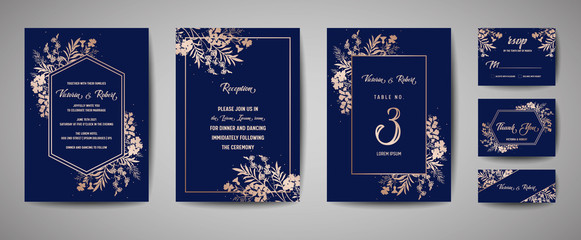 Obraz Luxury Wedding Save the Date, Invitation Navy Cards Collection with Gold Foil Flowers and Leaves and Wreath. Vector trendy cover, graphic poster, geometric floral brochure, design template - fototapety do salonu