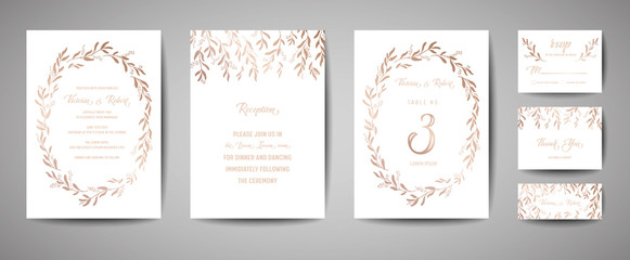 Luxury Wedding Save the Date, Invitation Cards Collection with Gold Foil Eucalyptus Leaves and Wreath. Vector trendy cover, graphic poster, geometric floral brochure, design template
