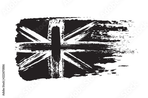 ca1d316cdd04 Vintage Union Jack, Great Britain grunge flag, brush strokes painted flag,  black isolated on white background, vector illustration.