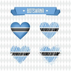 Botswana with love. Design vector broken heart with flag inside.