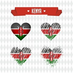 Kenya with love. Design vector broken heart with flag inside.