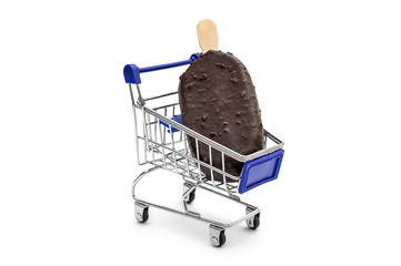 Ice cream in shopping cart on white background.