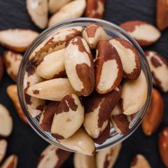 brazil nut on a dark stone background
