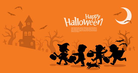 Happy Halloween. Children dressed in Halloween fancy dress to go Trick or Treating.Template for advertising brochure. Wall mural