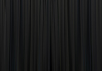Closed black curtains with folds background. Theatrical drapes