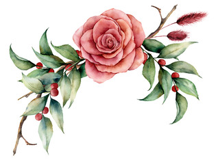 Watercolor bouquet with rose and berries. Hand painted floral illustration with pink flower, leaves, lagurus grass and branches isolated on white background. For design, print or background.
