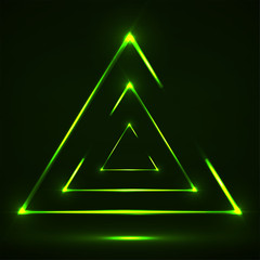 Abstract neon triangle with glowing lines. Vector design element