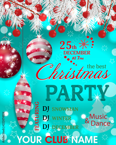christmas party invitation template turquoise background with fir