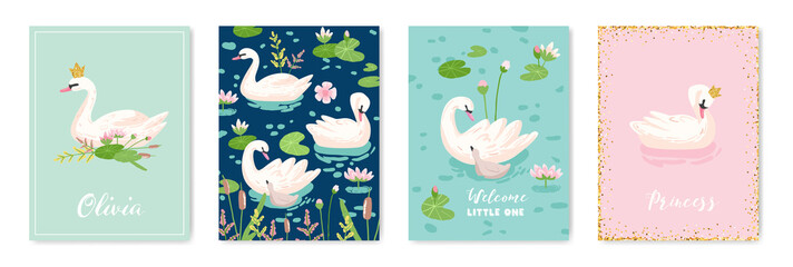 Collection of Beautiful Swans Posters for Design Print, Baby Greetings, Arrival Cards, Invitation, Children Store Flyer, Brochure, Cover in vector