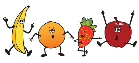 A group of cartoon dancing fruit including a banana, orange, strawberry and apple
