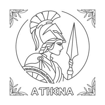athena Line Art vector