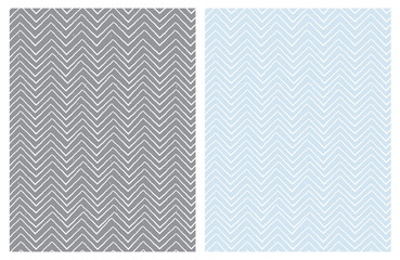 Set of Seamless Cute Chevron Patterns. White Zig Zag Shape a Gray ad Light Blue Background.  Funny Irregular Design. Infantile Style.
